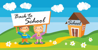 Back to school template with kids Stock Photo