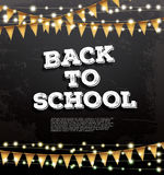 Back to School Template with Neon Garlands and Flags. Vector Illustration. Card with Copy Space Royalty Free Stock Images