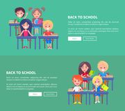 Back to School Template Poster with Small Pupils Stock Photography