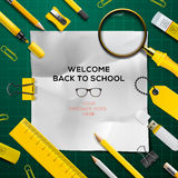 Back to school template with school's supplies Royalty Free Stock Image