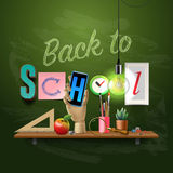 Back to school template with schools workspace Royalty Free Stock Images