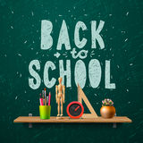 Back to school, template with schools workspace Stock Images