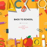 Back to school template with supplies. Back to school season sale template with schools supplies, vector Eps10 illustration Royalty Free Stock Photography