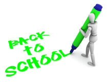 Back to school text. Mannequin writting back to school on the floor Stock Image