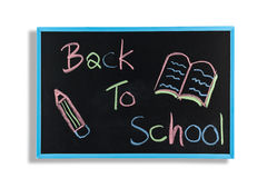Back to school text on  blackboard Stock Photos