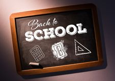 Back to school text on blackboard with chalk and stationery Royalty Free Stock Photos