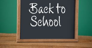 Back to school text on blackboard Royalty Free Stock Photography