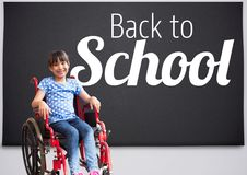 Back to school text on blackboard with disabled girl in wheelchair royalty free stock photos