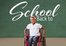 Back to school text on blackboard with disabled girl in wheelchair. Digital composite of Back to school text on blackboard with disabled girl in wheelchair Royalty Free Stock Photography