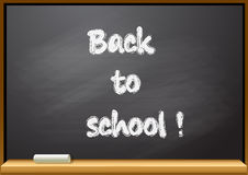 Back to school text on blackboard Royalty Free Stock Image