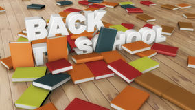 Back to school text and books. 3d rendering. Back to school text and books Stock Photo