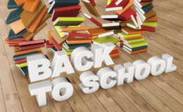 Back to school text and books. 3d rendering. Back to school text and books Royalty Free Stock Image