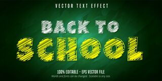 Free Back To School Text, Chalk Style Editable Text Effect Stock Photography - 193972642