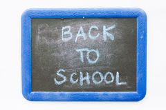 Back to school text on chalkboard Stock Photography