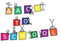 Back to school Text in colorful cubes and stick figures. Color squares with letters, stick figures in different poses on and near the shapes Royalty Free Stock Photo
