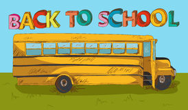 Back to school text colorful School bus cartoon. Stock Photo