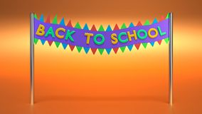 Back to school text 3d rendering. Back to school text in a banner 3d rendering Stock Photo