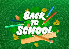 Back to school text drawing by chalk. Vector illustration design stock illustration
