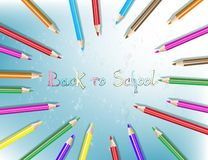 Back to school text drawing with colored pencils. Pencils are arranged in a circle. Vector illustration stock illustration