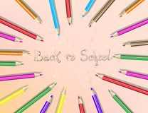 Back to school text drawing with colored pencils. Pencils are arranged in a circle. Vector illustration vector illustration