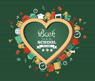 Back to school text, education love symbol and icons. Welcome back to school heart shaped chalkboard green background colorful icons illustration. Vector file Stock Image