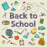 Back to school text end  vector doodle Royalty Free Stock Image