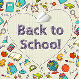Back to school text end  vector doodle Royalty Free Stock Photos