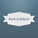 Back to School Text on festive Tag with Ribbon. Vector Illustration Royalty Free Stock Photography