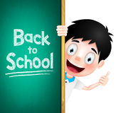 Back to School Text on Green Chalk Board with Boy Student Character. At the Back. Vector Illustration Royalty Free Illustration