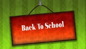 BACK TO SCHOOL text on hanging orange board. Green striped wallp. Aper background. Illustration Royalty Free Stock Photography