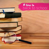 Composite image of back to school text with hashtag Royalty Free Stock Images