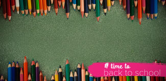 Composite image of back to school text with hashtag Royalty Free Stock Image