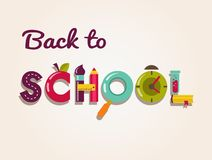 Back to school - text with icons. Vector concept Stock Photo