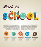 Back to school - text with icons. Vector concept Royalty Free Stock Image