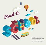 Back to school - text with icons. Vector concept Stock Images