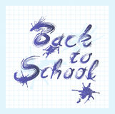 Back to school text with ink. Stains vector illustration
