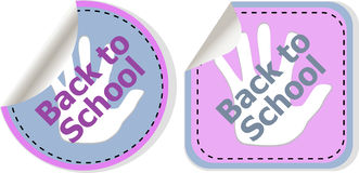 Back to school text on label tag stickers set isolated on white Stock Photos