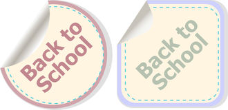 Back to school text on label tag stickers set isolated on white, education Royalty Free Stock Image