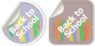 Back to school text on label tag stickers set isolated on white, education Royalty Free Stock Images