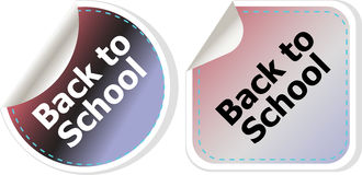 Back to school text on label tag stickers set isolated on white, education Royalty Free Stock Photos