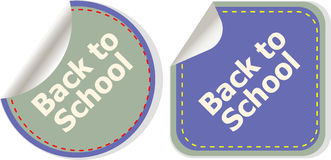 Back to school text on label tag stickers set isolated on white, education Royalty Free Stock Photography