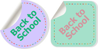 Back to school text on label tag stickers set isolated on white, education concept Stock Photos