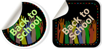 Back to school text on label tag stickers set isolated on white Royalty Free Stock Photo