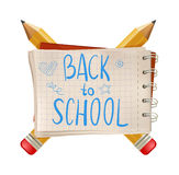 Back to school text, note. with pencils isolated on white background. Vector illustration. cartoon. trend Stock Images