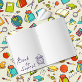 Back to school text in a notebook end  vector Royalty Free Stock Images