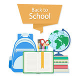 Back to school text on the orange banner. Open book with a bookmark and school supplies such as a backpack, textbooks, notebook Royalty Free Stock Photos