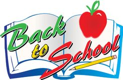 Back to School text over a book educational graphic royalty free illustration