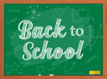 Back to school text over chalkboard background. Royalty Free Stock Photography