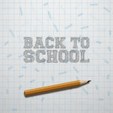 Back to School Text and realistic Pencil Stock Photos
