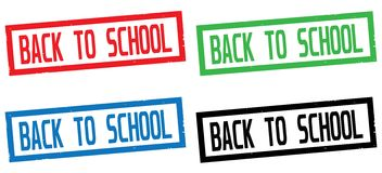 BACK TO SCHOOL text, on rectangle border stamp sign. Stock Photography